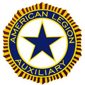 The ALA's emblem; a circular shape with gold edges, a blue star, and the words American Legion Auxiliary around it.