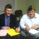 Post 1 Commander and Adjutant Sign Charter Application